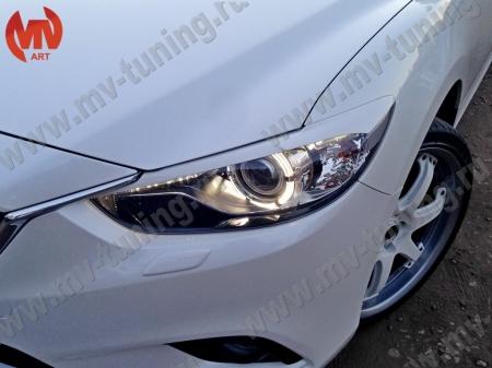 АБС-пластик Реснички на фары Mazda 6 2013- var№2 фигурные